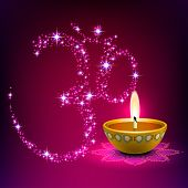 Diwali Oil Lamp with Aum (Om) Background