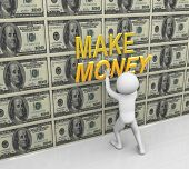 3D Man Pasting Make Money Text