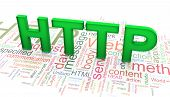 3D Text 'http' On The Http Wordclod Background