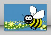 Bee and flowers vector illustration.