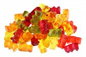 Assortment of colorful fruity Gummy Bears isolated on white background