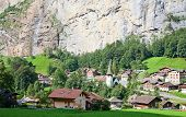 Famous village Lauterbrunnen in swiss alps - starting point for train tours in the Jungfrau region