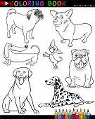 Perros de dibujos animados para colorear libro o página