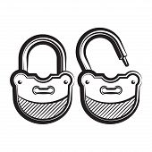 lock icon black and white vector illustration.