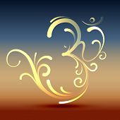 stylish hindu om symbol vector design