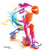 Basketball player. Vector illustration.