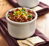 bowl of chili beef chili shot with selective focus.