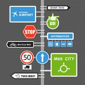 Different road signs on column. Vector collection