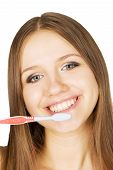 Pretty Girl With Tooth-brush