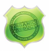 Organic product shield guaranty illustration design over white