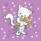 picture of wanton  - cute kitty holding mouse toy on violet background with foot print - JPG
