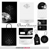 Luxury stationery design with diamond and ornate background