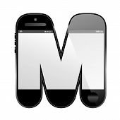 smart phone shaped, alphabet design letter, M