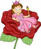 Ilustración de una niña princesa chica con sentado sobre un trono de Rose