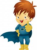 Illustration of a Little Kid Boy Superhero making an OK Sign