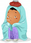 Illustration of a Sick Little Kid Boy Wrapped in Blanket with Thermometer on Mouth and Ice Bag on He