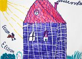 Child`s Picture. Blue House With Red Roof In Sunny Day.