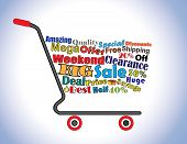 Shopping Cart Illustration: Mega Or Big Weekend Clearance Sale Shopping Cart Banner With All Key Tex