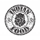foto of indian elephant  - Black grunge rubber stamp with an indian elephant symbol and the text indian food written inside the stamp - JPG