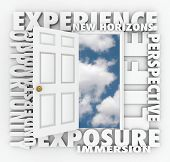 A door opens to expose a clear blue sky of opportunity with the words Exposure, New Horizons, Exposu