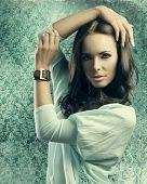 Sensual Girl With Smooth Hair Near Old Fashion Wallpapaper