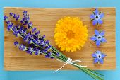 foto of borage  - Summer herbs and edible flowers on wooden plate on blue background - JPG