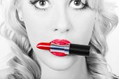 Make-up Closeup. Cosmetic Pinup Girl In Lip Makeup