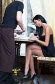 stock photo of pinner  - Beautiful woman in restaurant - JPG