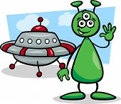 Alien With Ufo Cartoon Illustration
