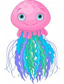 Illustration of cute cartoon jellyfish