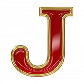 Ruby red with golden outline alphabet letter symbol - J