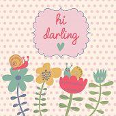 Floral leuke kaart met Lentebloemen en slakken. Vector zomer achtergrond met vintage frame. Hallo dar