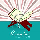 foto of islamic religious holy book  - Vintage background of holy month of muslim community Ramadan Kareem with open Islamic religious holy book Quran Shareef - JPG