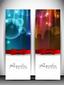 Shiny greeting card or banner set with red ribbon for holy month of Muslim community Ramadan Kareem.