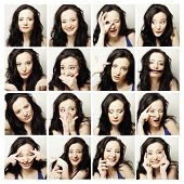 image of cheeky  - Collage of the same woman making diferent expressions - JPG