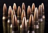 foto of m16  - rifle Bullets closeup on isolated black backgrounds - JPG
