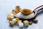 stock photo of sugar cube  - Various kinds of sugar - JPG