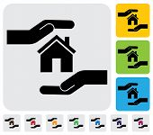 stock photo of safeguard  - Hand protecting house - JPG