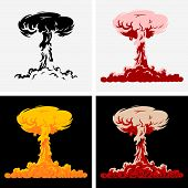 stock photo of nuclear disaster  - Four pictures of nuclear explosion on different background - JPG