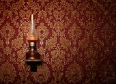 image of gobelin  - Red retro interior with floral ornament and lamp - JPG