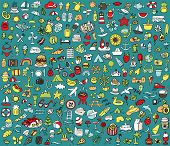 Big Doodled Summer And Holidays Icons Collection