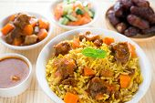 Arab rice, Ramadan food in middle eastern, served with tandoor mutton and arab salad.