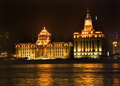 image of hsbc  - The Bund Old Part of Shanghai No 12 HSBC Bank Building Old Customs House At Night 