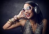 beautiful black woman with headphones