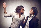 Engaged couple arguing