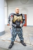 MOSCOW - SEPTEMBER 8: Man dressed as soldier at festival Everycon near House of Culture in VVC, on S
