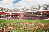 MOSCOW - SEPTEMBER 9: Teams and shiny ribbons on grass after farewell match of Yegor Titov, on September 9, 2012 in Moscow, Russia.