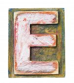 Wooden alphabet block, letter E