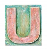 Wooden alphabet block, letter U