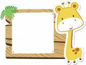 baby giraffe blank sign board